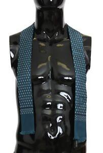 NEW DOLCE & GABBANA Scarf Blue 100% Silk Patterned Skinny Necktie 140x25