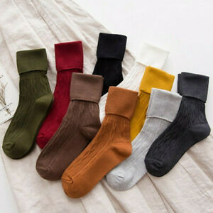 Women Cotton Solid Thick High Socks Winter Warm Soft Comfort Boot Socks