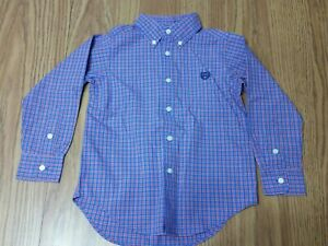 Chaps Boy's Long Sleeve Dress Shirt Blue and Red Checkered Embroidered Logo 4/4T