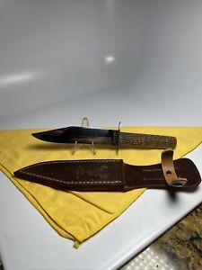 VINTAGE W R CASE & SONS BRADFORD Green Bone Hunting KNIFE 1905 to 1920 very nice