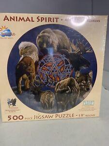 """New 500 Jigsaw Puzzle Sunsout 40075 ANIMAL SPIRIT David Behrens 19"""" Round"""