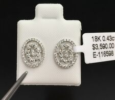 18K White Solid Gold Small Oval Stud Earrings, Genius Diamond 0.43CT,Was $3590