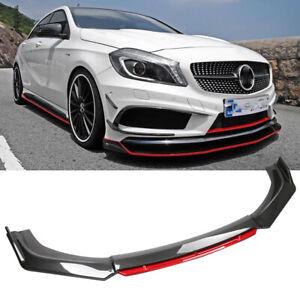 For Mercedes-Benz Front Bumper Lip Spoiler Splitter Body Kit Carbon Fiber + Red