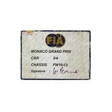 Original FIA 1997 Williams FW19 Scrutineering Passes - Monaco
