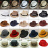Women Men Braid Fedora Trilby Gangster Cap Summer Beach Sun Straw Panama Hat Lot