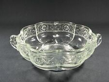 vintage pressed glass footed handled scalloped rimed bowl wild rose pattern
