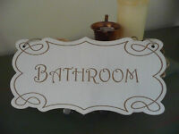Shabby Chic Wooden Bath Bathroom Door Hanging Sign Wall Plaque Home Vintage