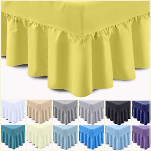 Luxury Egyptian Cotton 400TC Plain Dyed Frilled Deep Fitted Base Valance Sheet