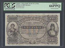 Uruguay Banco Ingles Del Rio De la plata 10 Pesos 1-5-1885 Specimen Ps191s UNC