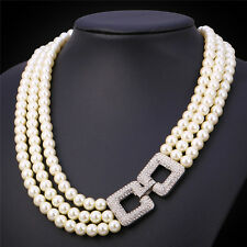 Luxury Anniversary Jewelry Double Square Rhinestone White Pearl Strand Necklace