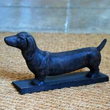 Antique design cast iron dachshund sausage dog doorstop