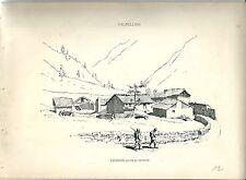 1880 Léchère BIONAZ VALPELLINE Valle d'Aosta litografia alpinismo montagna