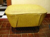 Vintage Mid Century Mod Green Stitches Pattern Black Metal Cage Bottom Ottoman