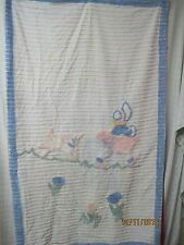 Vintage Child's Chenille Bedspread blue & white Sunbonnet Girl with Lamb