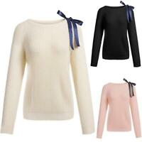 Women Casual O-Neck Long Sleeve Bow Tie Pullover Loose Knit Sweater H1PS