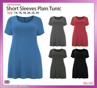 New Ladies Women Plain Short Sleeves Swing Tunic Top Plus Sizes 14-24