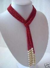 Mesdames,rouge, corail, et blanc, perle, foulard, collier, 127cm