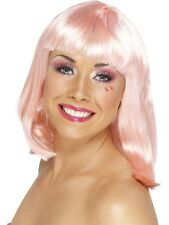 Party Wig Light Pink Fringed Wig 80's Wig Pink - Ladies Fancy Dress