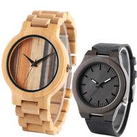 Minimalist Nature Bamboo Wrist Bracelet Wooden Watch Quartz Leather Bangle Band