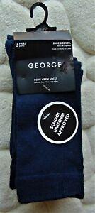 """GEORGE"" BRAND ~ BOY'S CREW SOCKS ~ 3 NEW PAIRS ~ SIZE 9-9 1/2 ~ DARK BLUE"