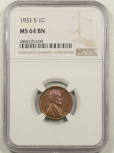 1931-S LINCOLN CENT - NGC MS-64 BN COLOR!