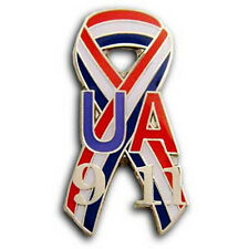 UNITED AIRLINES 9/11 Memorial Pin 911 WTC Remembrance Red WHITE Blue Ribbon