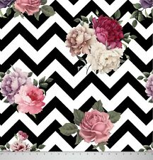 Soimoi 44 Wide Chevron Floral Printed 130 GSM Moss Georgette Fabric By Metre