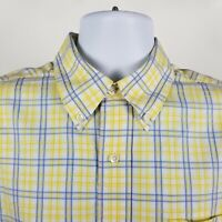 Brooks Brothers Country Club Mens Yellow Blue Check Dress Button Shirt Sz Large
