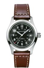 New Hamilton Khaki Field Auto Black Dial Leather Band Men's Watch H70455533