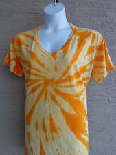 Women's Port and Company  Cotton S/S V Neck Tie Dyed Tee Shirt 2X Yellow
