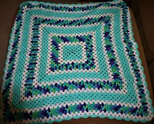 EXPERTLY CROCHETED AFGAN SHADES OF BLUES, WHITE, PURPLE and GREENS  BEAUTIFUL