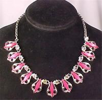 Vintage Necklace Aurora Rhinestones Hot Pink Thermoplastic Goldtone Metal Pretty