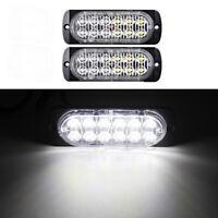 2x 12 LED Car SUV Pickup Emergency Warning Flash Strobe Light 12V-24V 36W White
