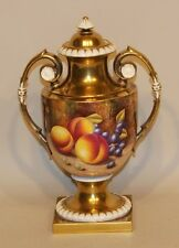 Royal Worcester Artist Signed D. Shinnie Handpainted Fruit Study Gold Urn Vase