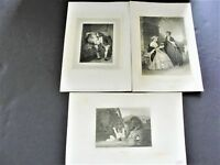 UNCLE TOBY AND THE WIDOW + others-1850s-1860s Engraving Art Set Of (3) Prints.