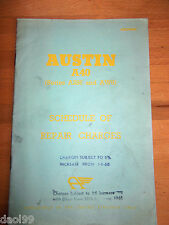 Austin A40 (Series A2S6 & AW6) repair Charge Schedule