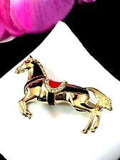 EXQUISITE CINER GOLDTONE CRYSTAL RHINESTONE BLACK ENAMEL EQUESTRIAN HORSE BROOCH