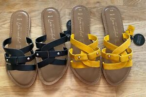 New Look Leather Flats Sandals Available: Black or Yellow 3 4 5 6 7 8