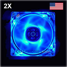 2X 80mm Computer PC Clear Case Cooling Fan With LED - Blue