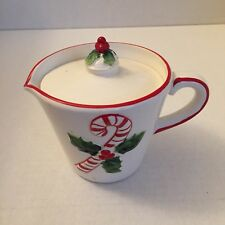 Vintage Josef Originals Christmas Creamer With Holly & Candy Cane