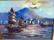 Vintage Asian Oil Painting On Canvas Junks In Harbor Seascape 33x27 L.A,Calif.