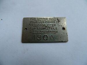 HMV  130A  Gramophone Metal Identification Label