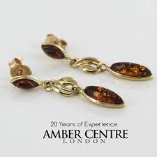 ITALIANO FATTO classico ambra baltica in 9ct oro pendente earrings-ge0127