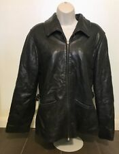 LNR Black Leather Jacket Coat Women Size Medium Zip Up Long Sleeve Classic