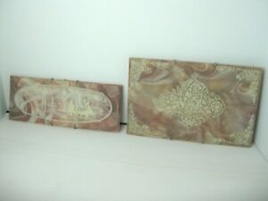 Genuine Incolay Stone? Victorian tiles, wall hanging, plaque 3D lot of 2