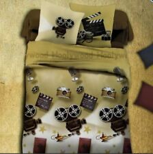 3D Bedsheet Modern Old Film Projector Theme King Fitted Sheet Cover w/Pillowcase