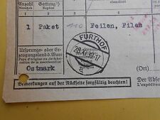 #8004 Austria Furthof postal customs declaration 1939