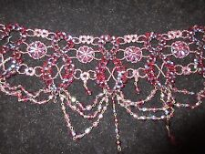 Layered Crystal Beaded Thick Choker Necklace Maroon Multi-Color Floral Statement