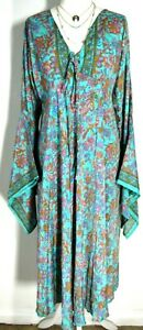 Boho hippie Festival pixie BLUE 100% SILK kaftan tunic Long dress maxi One size