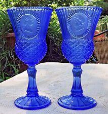 VINTAGE 1976 AVON COBALT BLUE FOSTORIA GEORGE & MARTHA WASHINGTON GOBLETS